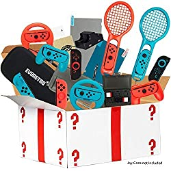 Ultimate Accessories Bundle for Nintendo Switch - 21 in 1 Essential Kit including (Tempered Glass Screen Protector, Travel Carrying Case, Joy Con Charging Dock Station, Grip, and more)