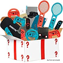 Ultimate Accessories Bundle for Nintendo Switch - 21 in 1 Essential Kit including (Tempered Glass Screen Protector, Travel Carrying Case, Joy Con Charging Dock Station, Grip, andmore)