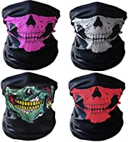 4 Pcs Breathable Seamless Tube Skull Face Mask, Dust-Proof Windproof Motorcycle Bicycle Bike Face Mask for Cyc
