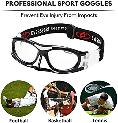 29378897d9 Amazon.com   EVERSPORT Protective Sports Goggles Safety Basketball Glasses  for Adults with Adjustable Strap for Basketball Football Volleyball Hockey  ...