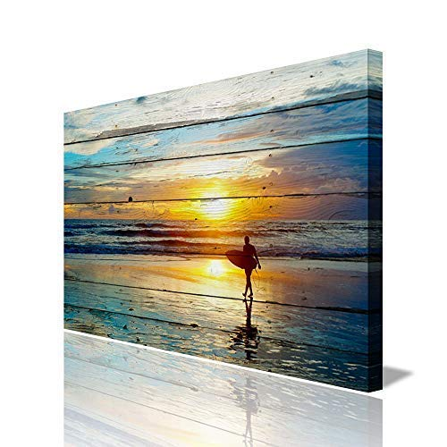 ARTLAND Seascape Wall Art for Living Room Framed Modern Ocean Landscape Canvas Print Surfer at Dusk Artwork Blue Yellow Ready to Hang for Home Office Decoration 24