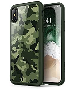 iPhone X Case, [Scratch Resistant] i-Blason Clear [Halo Series] for Apple iPhone X Cover 2017 Release (Camo/Green)