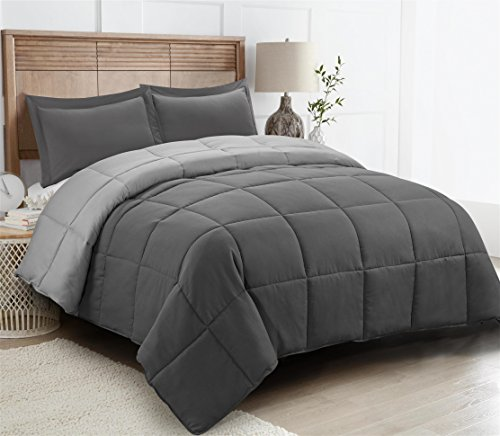 HIG 2pc down alternative Comforter Set -All Season relatively easy to fix Comforter together with Sham -Quilted Duvet Insert together with Corner Tabs -Box Stitched –Hypoallergenic, Soft, Fluffy(Twin/Twin XL,Dark Gray/Light Gray)