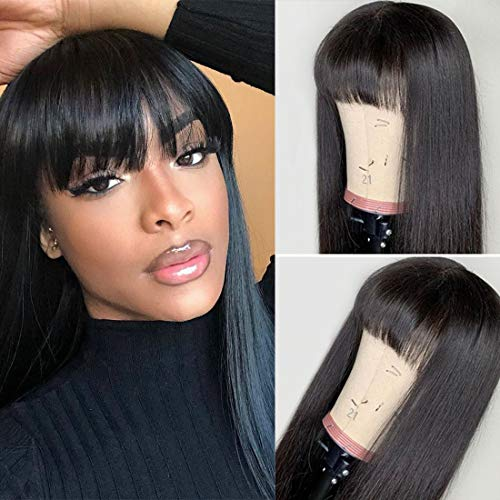 West Kiss Straight Wig With Bangs Human Hair Silky Brazilian Hair None Lace Front Wigs Glueless Machine Made Wigs For Black Woman (14 inch wigs with free part bangs) (Human Hair Wigs For Black Women On Sale)