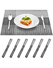 BROTOU 6PCS Placemat for Kitchen Dining Table Set, 18 x12 Inches Washable PVC Placemats, Stain Resistant Anti-Skid Coffee Mat Easy to Clean, Heat-Resistant Woven Vinyl Table Mats Home Decoration (Silver Grey)