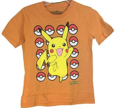 Pokemon Pokeball Pikachu Youth T-Shirt Orange Large 14/16