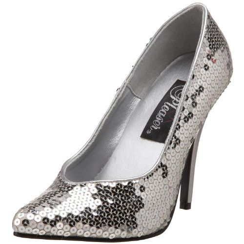 Pleaser Women's 5 Inch Classic Pump (Silver;7) (5 Inch Heel Classic Pump)