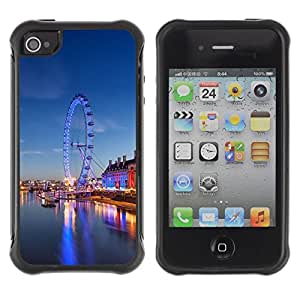 LASTONE PHONE CASE / Suave Silicona Caso Carcasa de Caucho Funda para Apple Iphone 4 / 4S / Ferry Wheel Amusement Park London