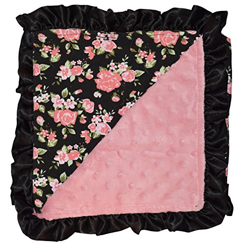 Unique Baby Soft Textured Minky Dot Blanket with Satin Trim, Vintage Floral with Black Ruffle