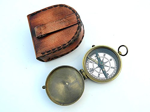 Roorkee Instruments India Second Star to The Right J. M. Barrie, Peter Pan Engraved Brass Compass with Leather Case