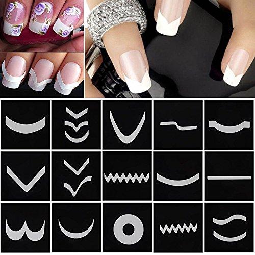 Nail Stencils Nail Art Stickers - 18 Sheets/Set French Style Nail Manicure DIY Nail Art Tips Guides Nail Art Stickers Stencil Strip #M01615 - Nail Art Stencils ()