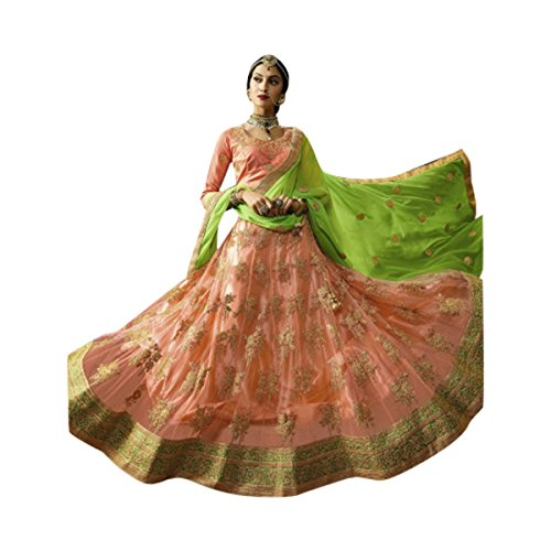 NEW LAUNCHED BRIDAL WEDDING DESIGNER LEHENGA CHOLI DUPATTA CEREMONY BRIDE WEAR SILK MULTI COLOR SIZE 44 552_1 -