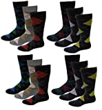 12 Pairs Men's Bright Colors Argyle Design Fancy Design Dress Socks 10-13