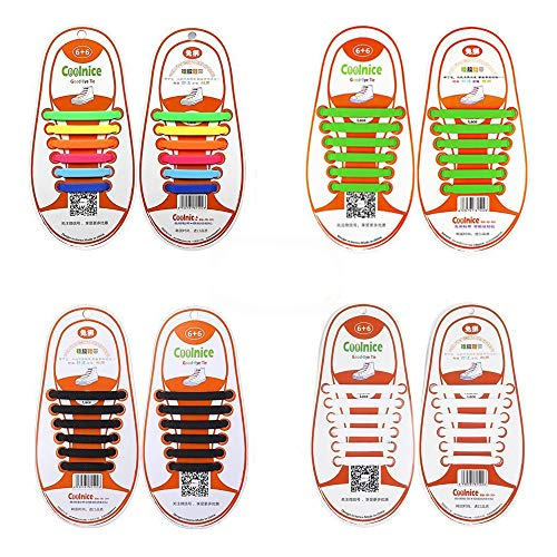 4 Pair Lazy No Tie Silicone Shoelace, Elastic Tie-Free Wash-Free Waterproof Rubber Shoe Laces for Sneakers Running Shoes Boots Board Shoes and Casual Shoes for Kids (Rainbow+Black+White+Green)