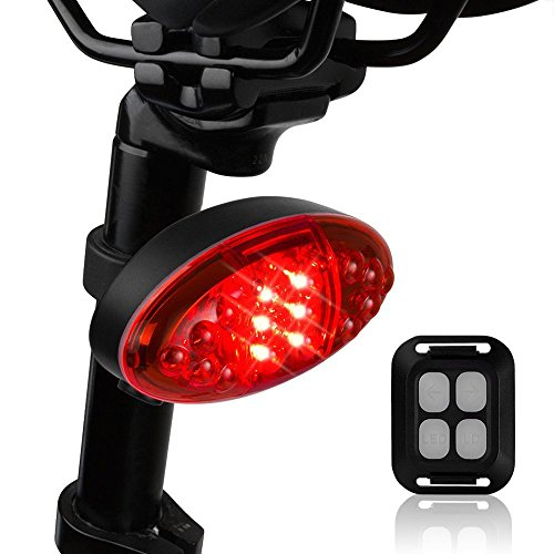 Elecguru Bicycle Tail Light, Wireless Rechargeable Remote Control Waterproof LED Warning Flashing Turn Signals Bicycle USB Chargeable Laser Rear Light for Bike (9 Lighting Modes Tail Light)