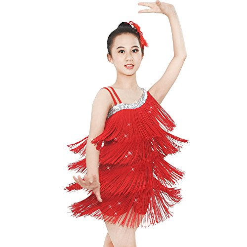 MiDee Dance Costume Fringes Ice Skating Dress Sequins Leotard with 4-Tires Tassels High-Low Dress for Girls (IC, (Dance Competition Costumes Patterns)