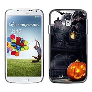 - Halloween - - Monedero pared Design Premium cuero del tir¨®n magn¨¦tico delgado del caso de la cubierta pata de ca FOR Samsung Galaxy S4 i9500 i9508 i959 Funny House