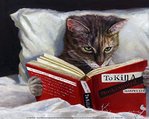 - Picture Peddler Late Night Thriller - Cat Reading To Kill a Mockingbird by Lucia Heffernan 16x20 Feline Whimsical Novelty Humorous Funny Art Print Poster