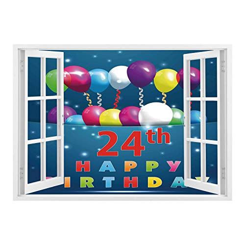 SCOCICI Removable 3D Windows Frame Wall Mural Stickers/25th Birthday Decorations,24th Birthday Party Joyous Mood Occasion Flying Baloons Stars,Multicolor/Wall Sticker Mural -