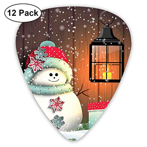 Celluloid Guitar Picks - 12 Pack,Abstract Art Colorful Designs,Cute Snowman With Santa Hat In The Garden With A Gift Box And Lantern Image,For Bass Electric & Acoustic Guitars. ()