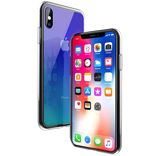Wireless Charger iPhone X Case, Ztotop 2018 New Style Slim Fit Gradual Colorful Gradient Change Color Case for Apple iPhone X/10 with Ultra Thin Lightweight Anti-Drop Hard Back, Transparent Blue