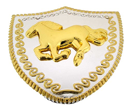 Horse Belt Buckles Gold Silver Western Texas Usa Rodeo Cowboy Cowgirl Aztec New (HP01 Running Horse Two Tone Rhinestones Shield Plt)