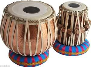 Queen Brass Tabla Drums Set-Concert_Quality-Hammered_Copper Bayan 5 Kg-Sheesham Wood Dayan