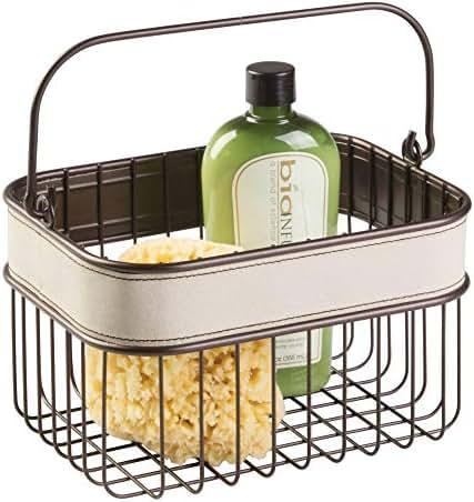InterDesign Lauren Bathroom Storage Basket for Shampoo, Cosmetics, Beauty Products - Cream/Bronze