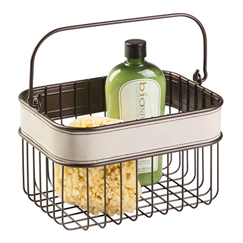 InterDesign Lauren Bathroom Storage Basket for Shampoo, Cosmetics, Beauty Products - Cream/Bronze