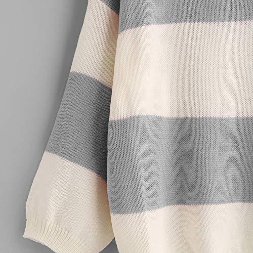 Maglione Strisce Ponticello Al A Caldo Donne Maniche Intorno Stampa Maglietta Pullover Di Maglia Per Doldoa Le Collo Vendita Liquidazione Di Grigia Di Lunghe TxnpPaq67