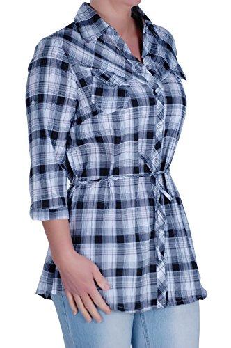 Chemisier Cravate Chemise Eyecatch Dames Taille Dsinvolte Dames Noir Plus Damier xq0qSOPw