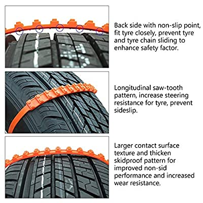 Ketofa Anti Slip Tire Chains Snow Tire Chains for SUV Car Van ATV Jeep Compatible with Honda Toyota NIS-san VW Ford Mercede Benz BMW HTATMT Jeep Tyre (Pack of 10): Automotive