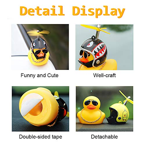 wonuu Rubber Duck Toy Car Ornaments Yellow Duck Car Dashboard Decorations with Propeller Helmet