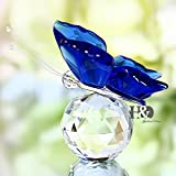 Crystal Blue Butterfuly Figurines Paperweight Crafts Art&Collection Table Car Ornaments Souvenir Home Wedding Decoration K0184