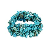 FENDINA Simulated Amethyst/Turquoise/Rock Quartz Crystal Bracelet Healing Chakra Crushed Gemstone Chips Stretch Strand