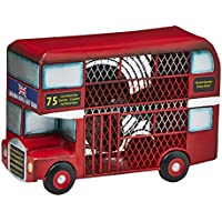 DecoBREEZE Table Fan Single-Speed Electric Circulating Fan, Red Double Decker Bus Figurine Fan