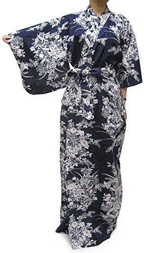 Kimono Japan Women's Easy Yukata Robe Navy Lily (Yukata Cotton)