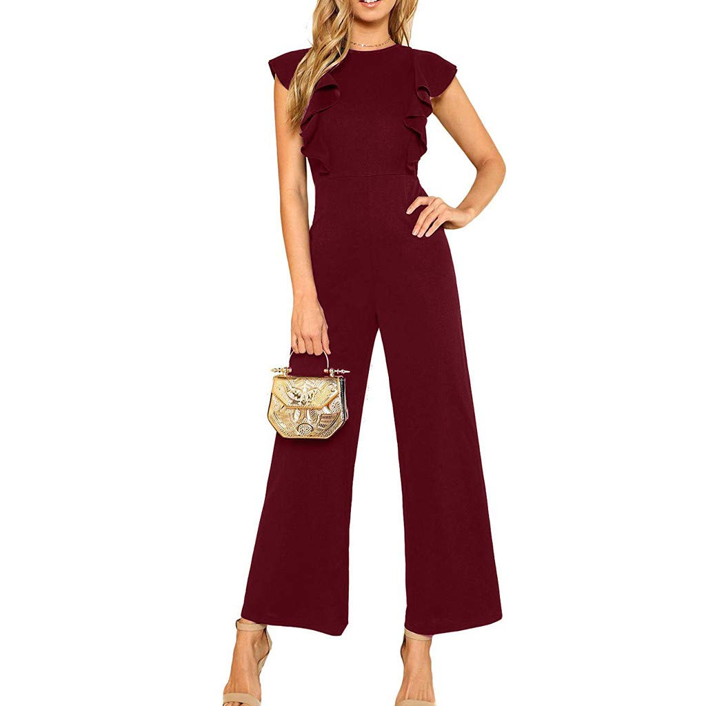 ✔ Hypothesis/_X ☎ Womens Sleeveless Cocktail Wide Leg Playsuit O Neck Loose Casual Solid Chiffon Sleeveles Jumpsuits