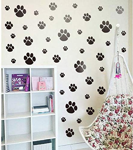 Pet Paw Wall Decal, DIY Cat Dogs Footprint Wall Sticker for Kids Room Decoration, Animal Theme Party Sticker (40pcs Paw Decals)