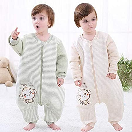1Pcs Unisex Baby Kids Coverall Sleeping Bag - Portable Fall Winter Soft Breathable Cotton Long Sleeves and Feet Sleep Sack with 3 Zipper Pull(80cm for 0-1years Old) SYBL