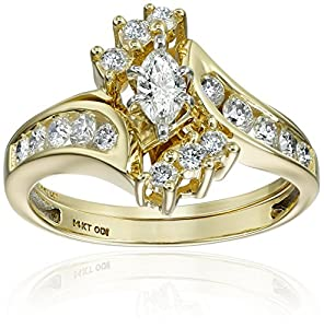 IGI Certified 14k Yellow Gold Bypass Diamond (1cttw, H-I Color, I1-I2 Clarity) with Marquise Wedding Bridal Ring Set, Size 8