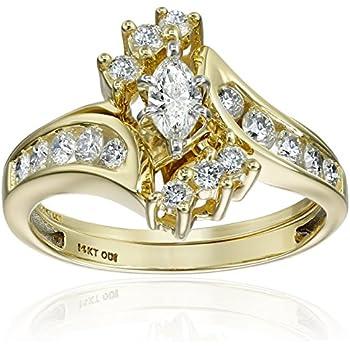 Amazon.com: IGI Certified 14k Yellow Gold Bypass Diamond