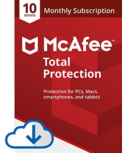 Software : McAfee Total Protection Monthly Subscription- 10 Device