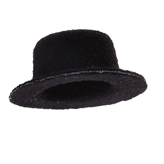 Fityle Dolls House 1 12 Mini Black Bowler Hat Wedding Racing Clothing  Accessories 5c890cfc22a5