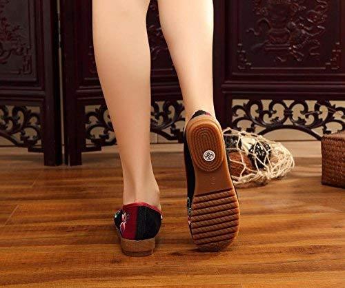 Eeayyygch Bestickte Schuhe Sehnensohle Stoffschuhe Ethno-Stil weibliche Stoffschuhe Sehnensohle Mode bequem lässig schwarz 41 (Farbe   - Größe   -) b609f9
