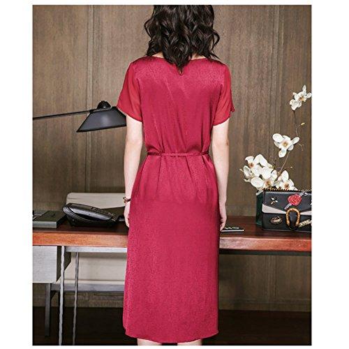 Übergröße Abendkleid Midi Cocktail S2615 Rot Seide DISSA Damen Kleider Kleid Gestreift BXwOnzq