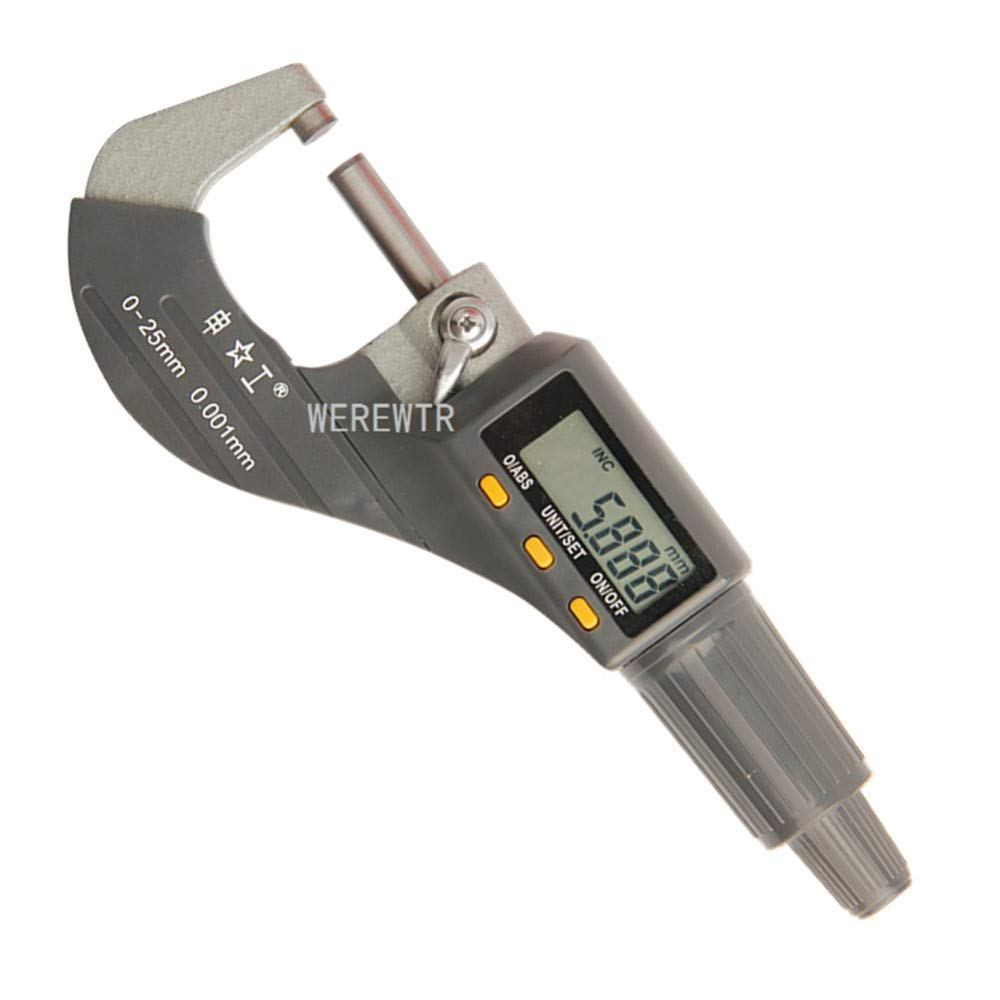 Werewtr 0-25Mm Digital Micrometer 0.001Mm Metric/Inch Outside Micrometer Measuring Instrument Electronic Micrometer Tools,0-25Mm