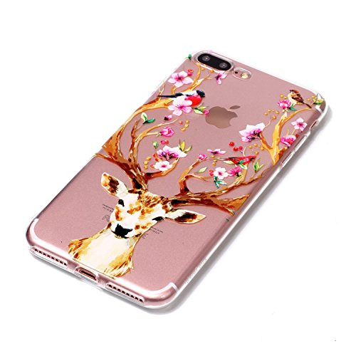 iPhone 7 Plus Coque , Leiai Transparent Mode Elch Ultra-mince Clear Silicone Doux TPU Housse Gel Etui Case Cover pour Apple iPhone 7 Plus