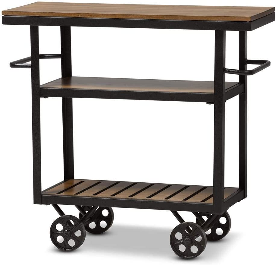 Baxton Studio Mobile Serving Cart in Brown and Black