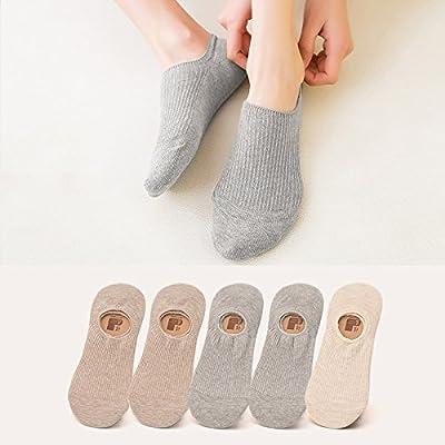 Maivasyy 5 paires de chaussettes Coton Chaussettes Bateau d'été mignon de l'été bas antiglisse Silicone Stealth modèles minces, 2 2 1 mètre gris kaki, chaussettes
